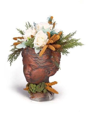 Kibrithane Çiçek Yapay Çiçek Beton Helen Saksı Kuru Çiçek Gül Aranjman Kc00200849 Renkli